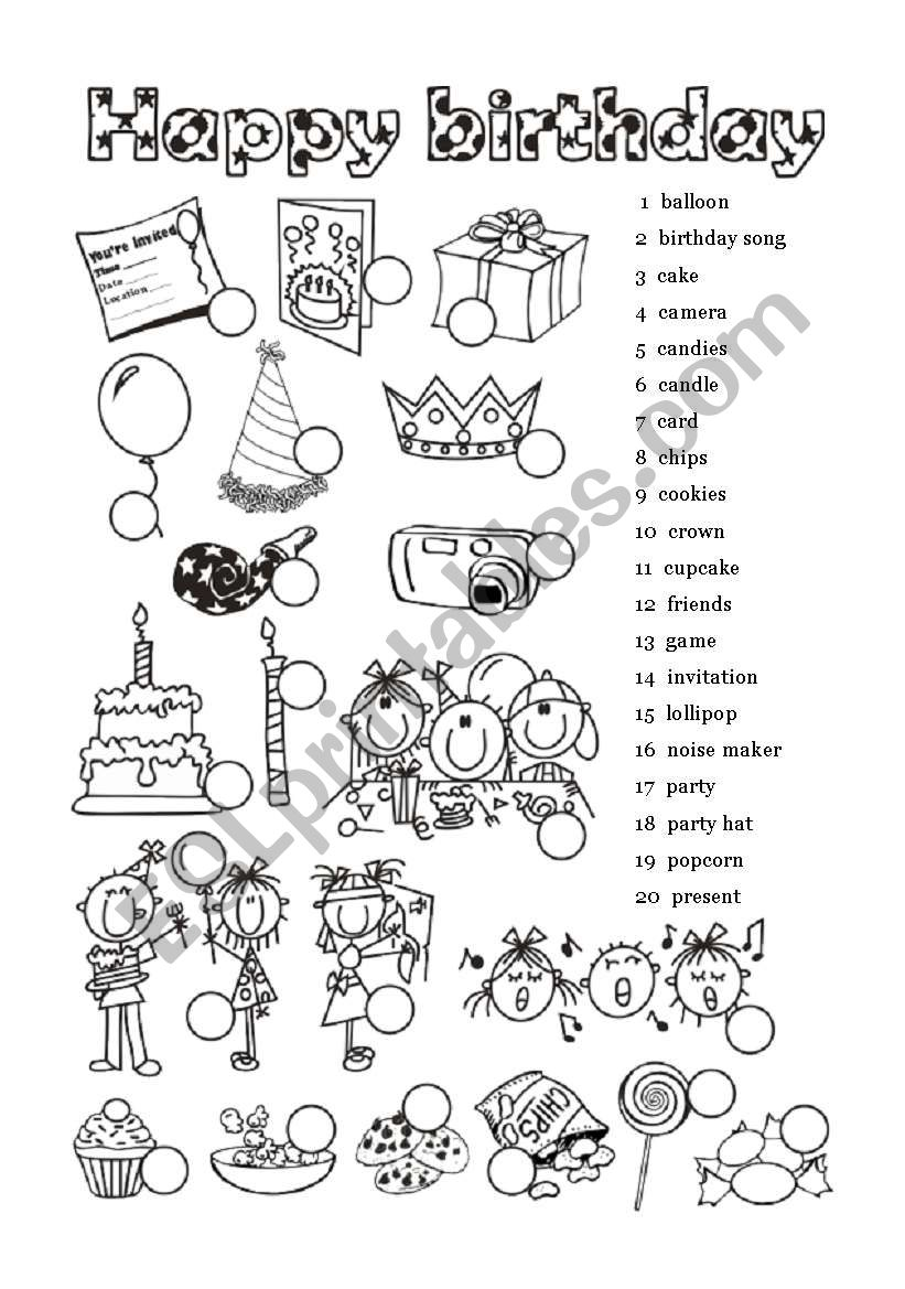 Happy Birthday - 1 of  6 worksheet