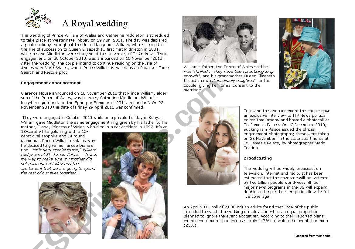 a royal wedding : Kate and William