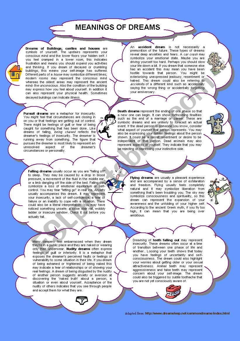Common dreams meanings worksheet