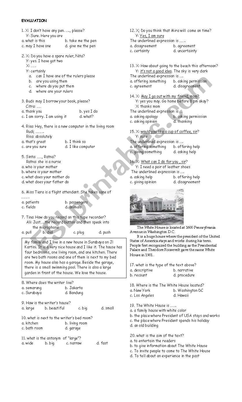 question and response worksheet