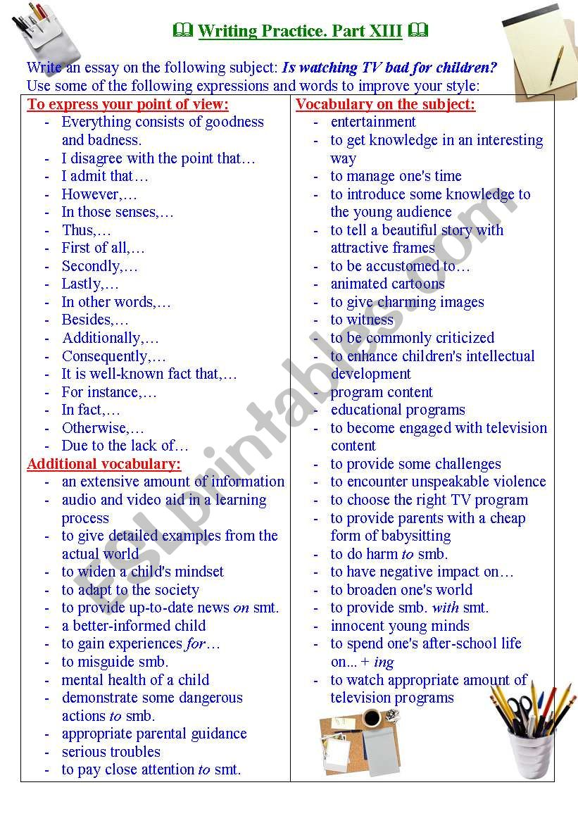 Writing practice for TOEFL/IELTS exams. Useful expressions and vocabulary. Part XIII.