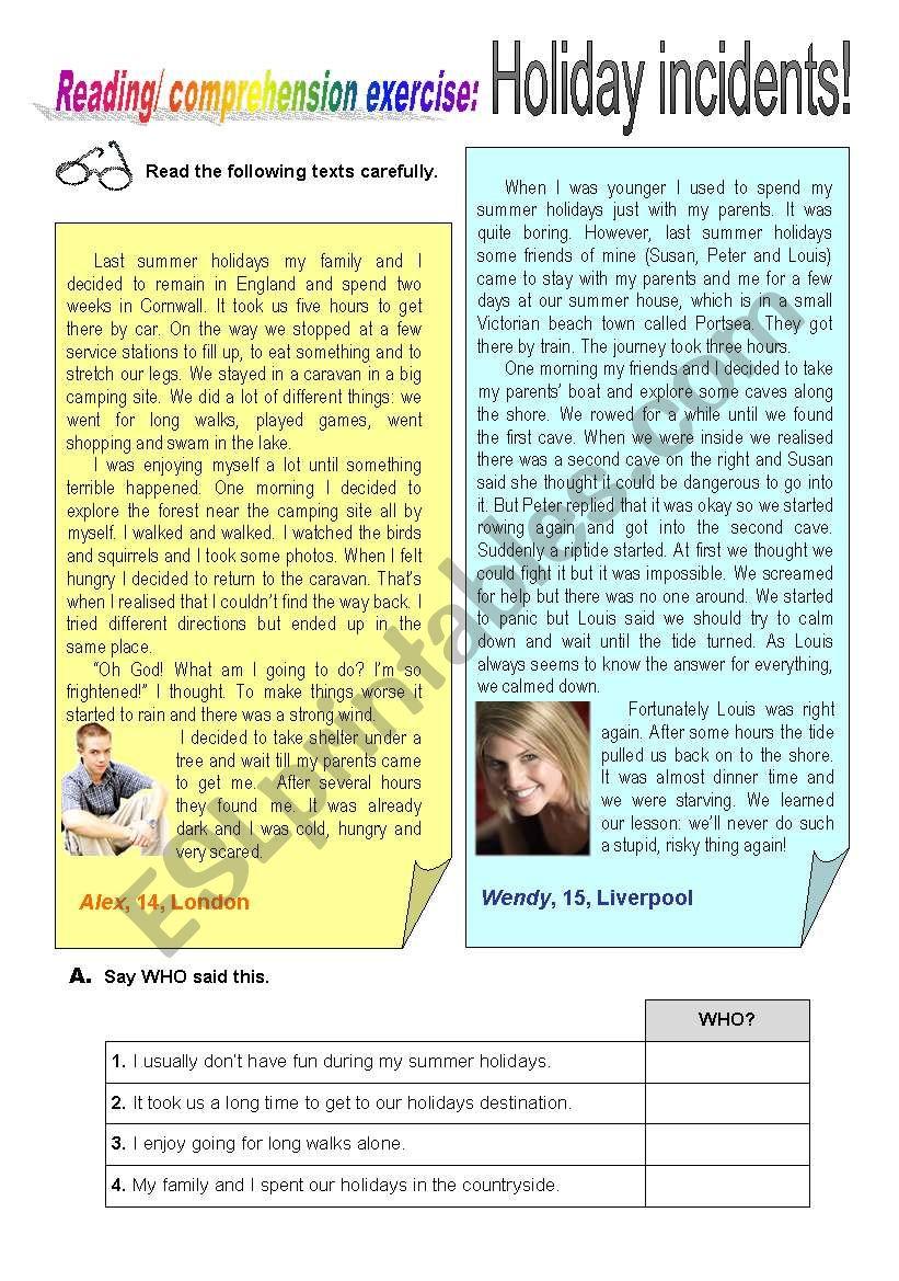 Holiday Incidents worksheet