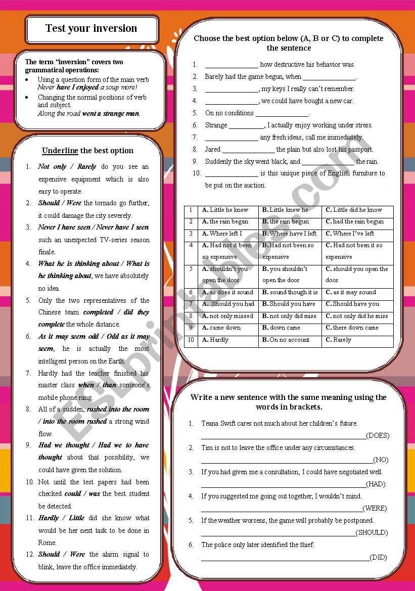 Test your inversion worksheet