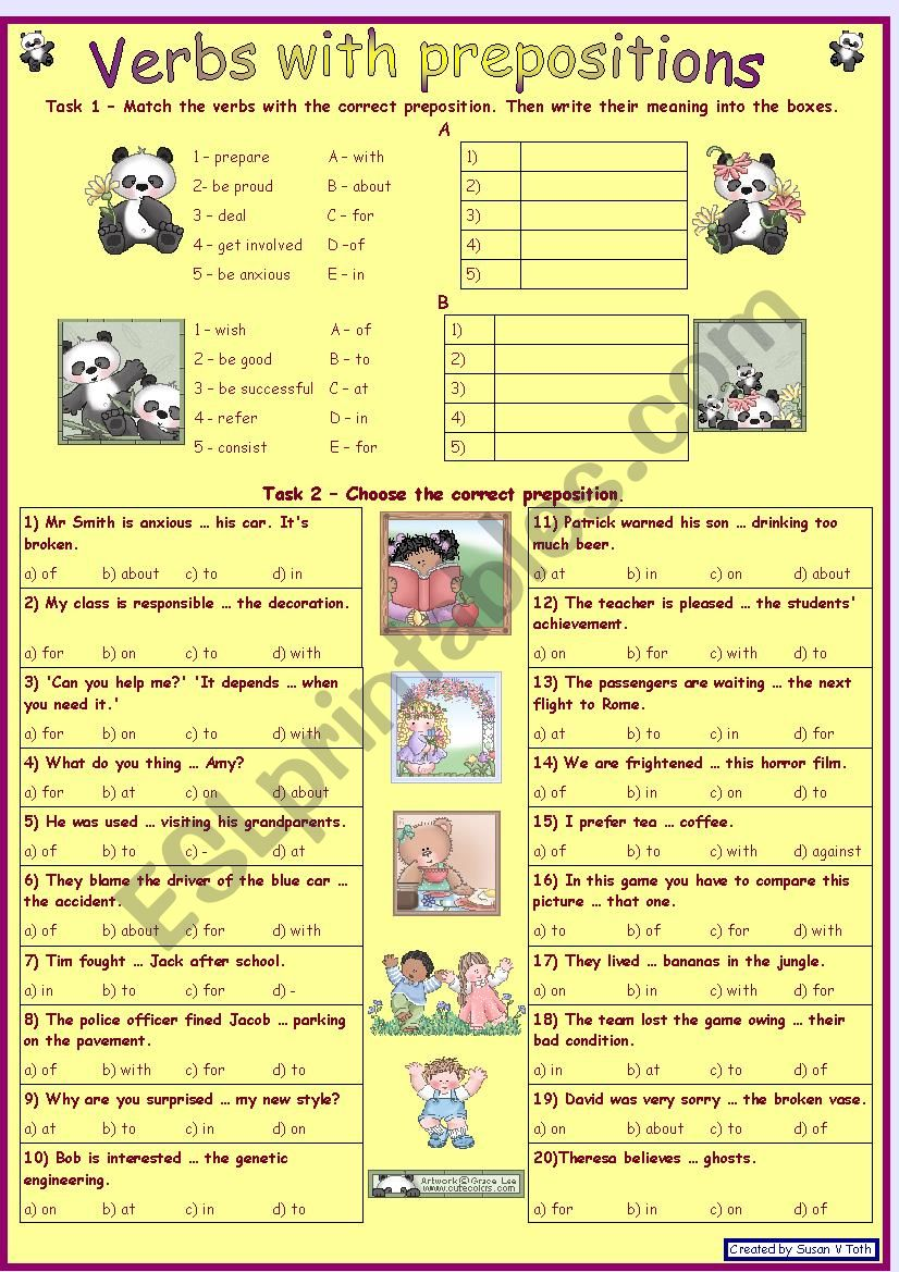 Verbs with prepositions 1 *** for intermediate and advanced learners *** with key *** fully editable RE-UPLOADED