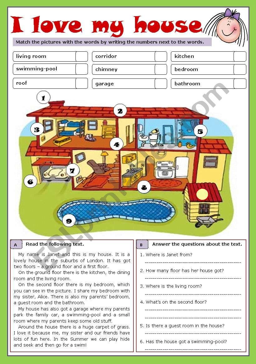 I love my house (reuploaded) worksheet