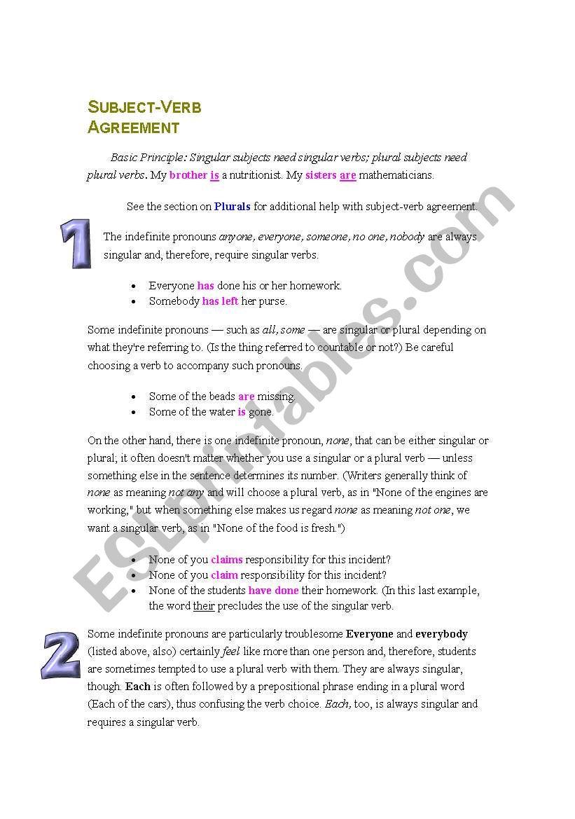Subject verb agreement esl worksheet by waeldream subject verb agreement worksheet ibookread PDF