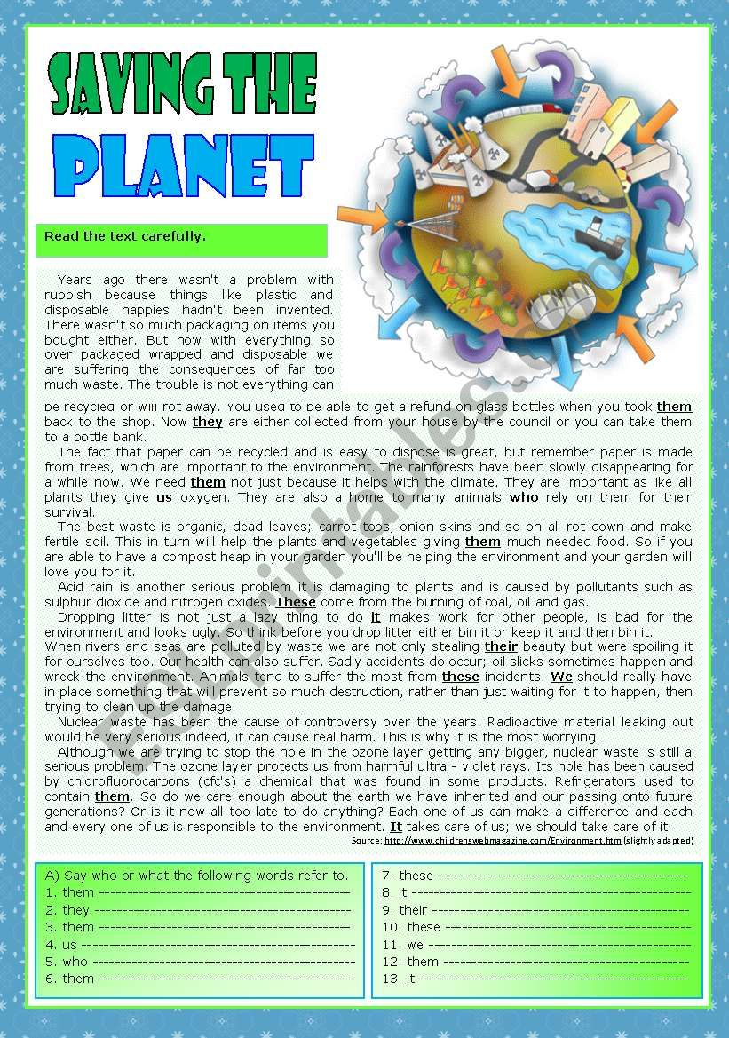 Saving the planet worksheet