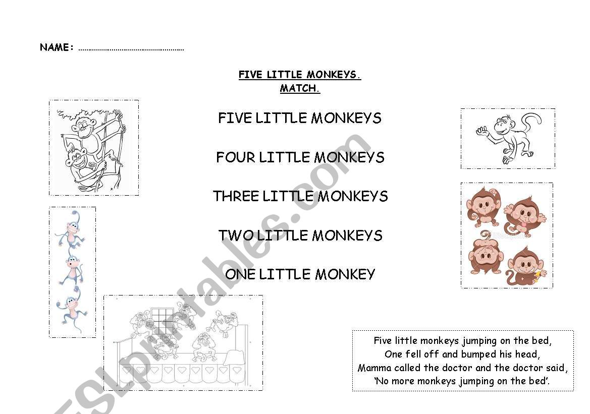 Five Little Monkeys worksheet