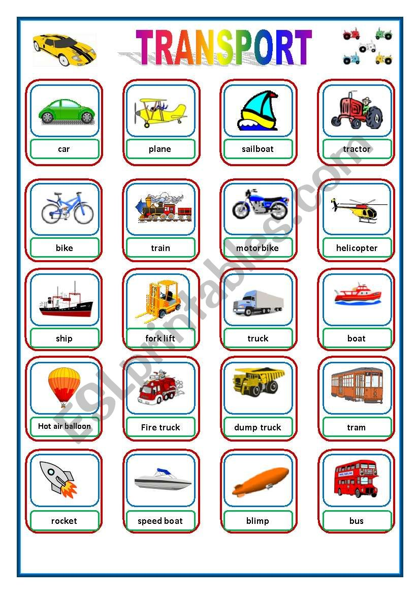 TRANSPORT FLASHCARDS worksheet