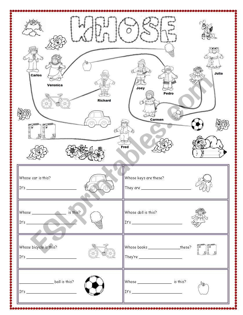 Whose & possession worksheet