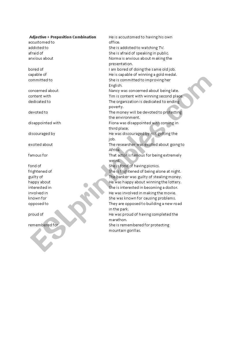 Ajective + Preposition Combination