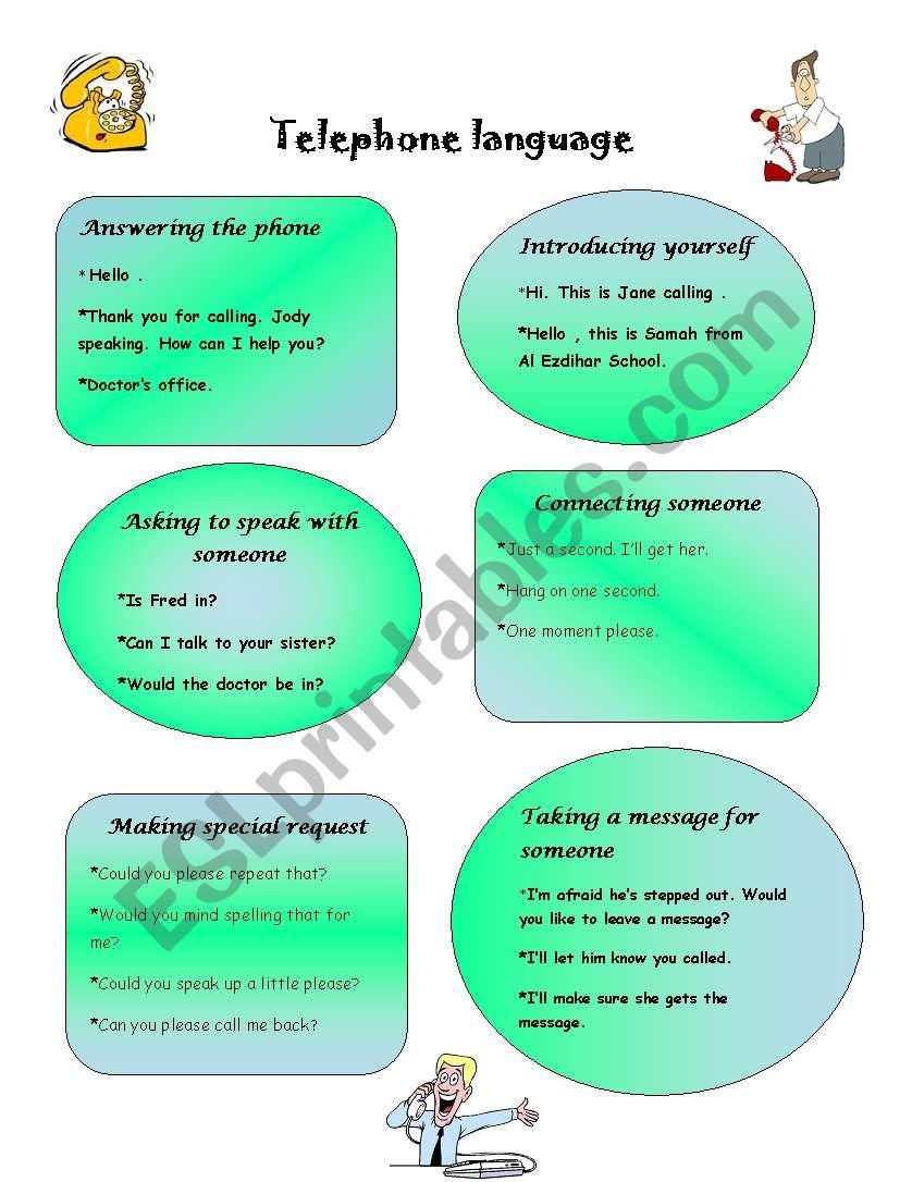 Telepone language worksheet
