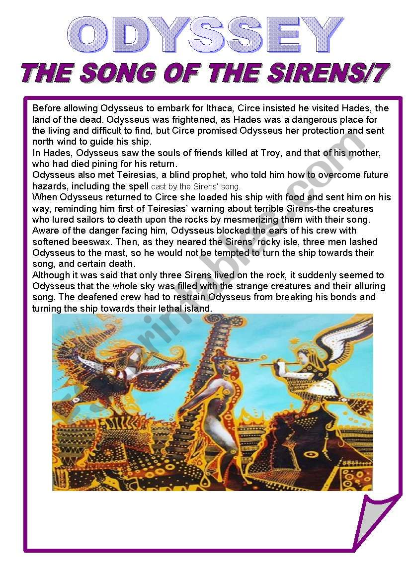 The Odysseythe Song Of The Sirens7simple Past Esl Worksheet By