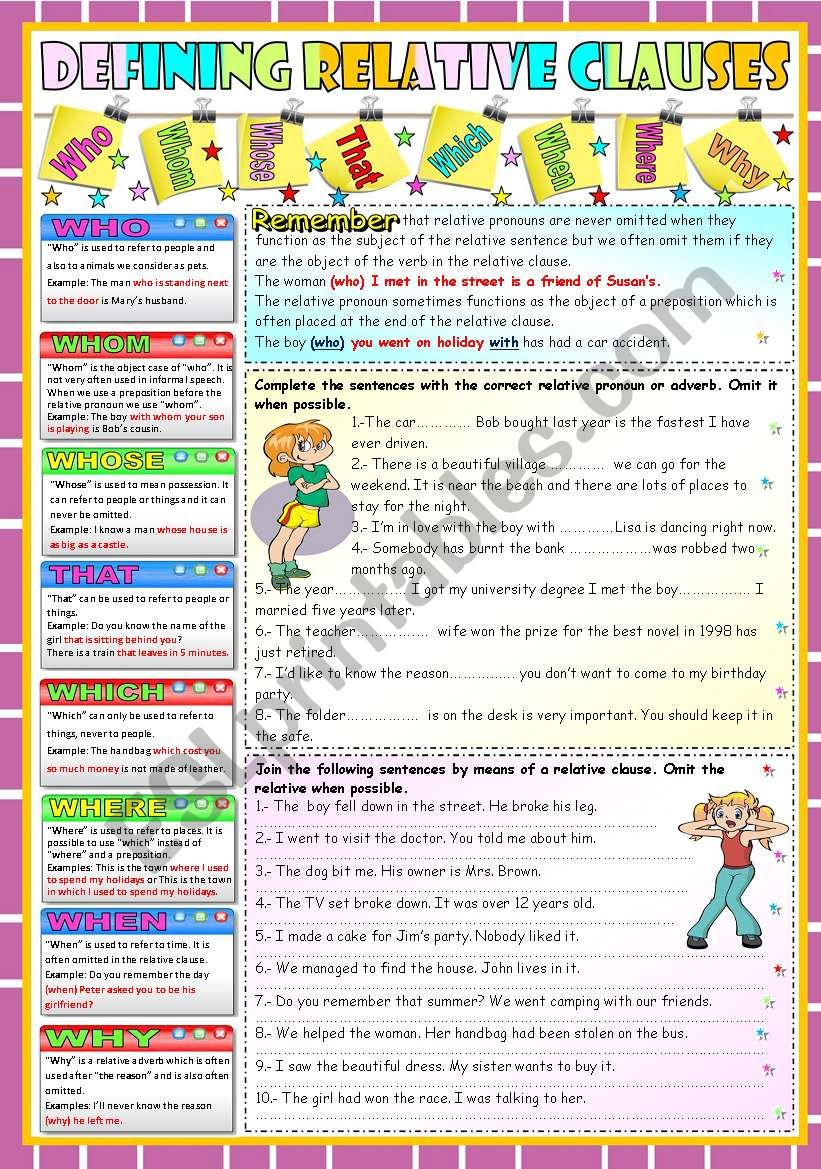 DEFINING RELATIVE CLAUSES-GRAMMAR AND EXERCISES (KEY INCLUDED)