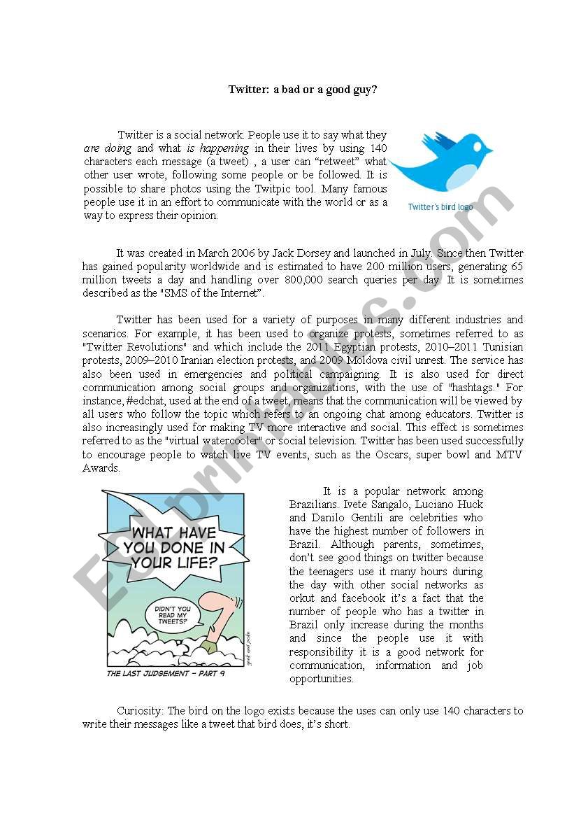Twitter: a good or a bad guy? worksheet