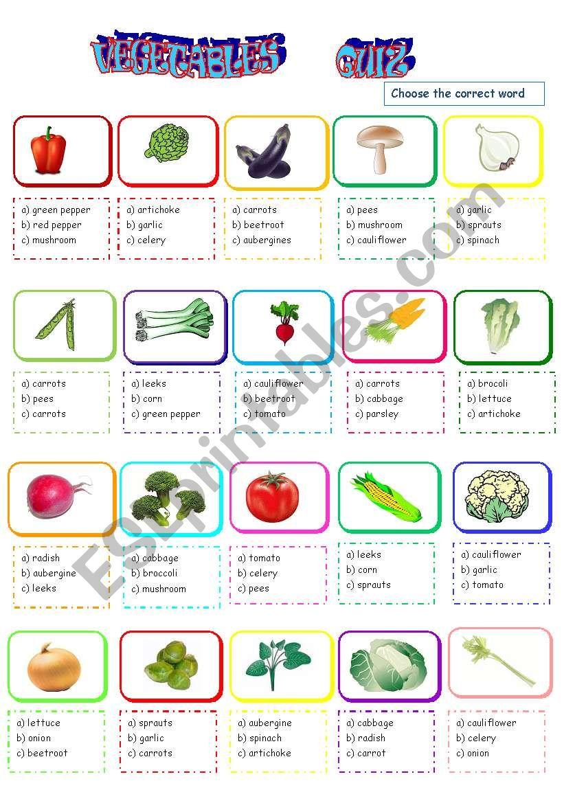 vegetable quiz worksheet