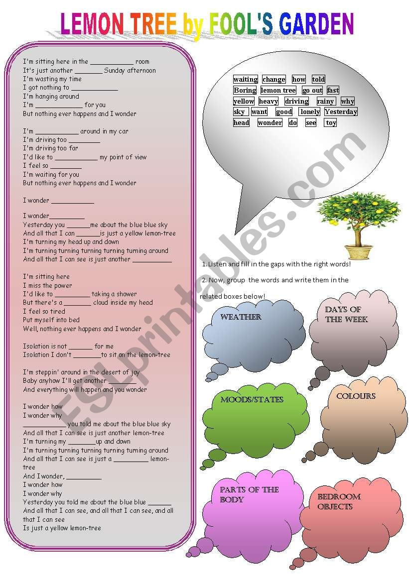 Lemon Tree song activity worksheet