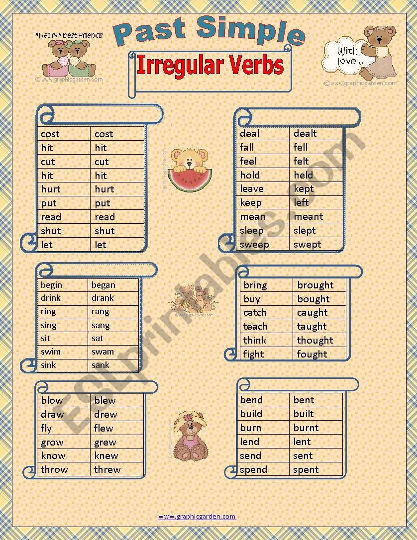 Past Simple Irregular Verbs first page