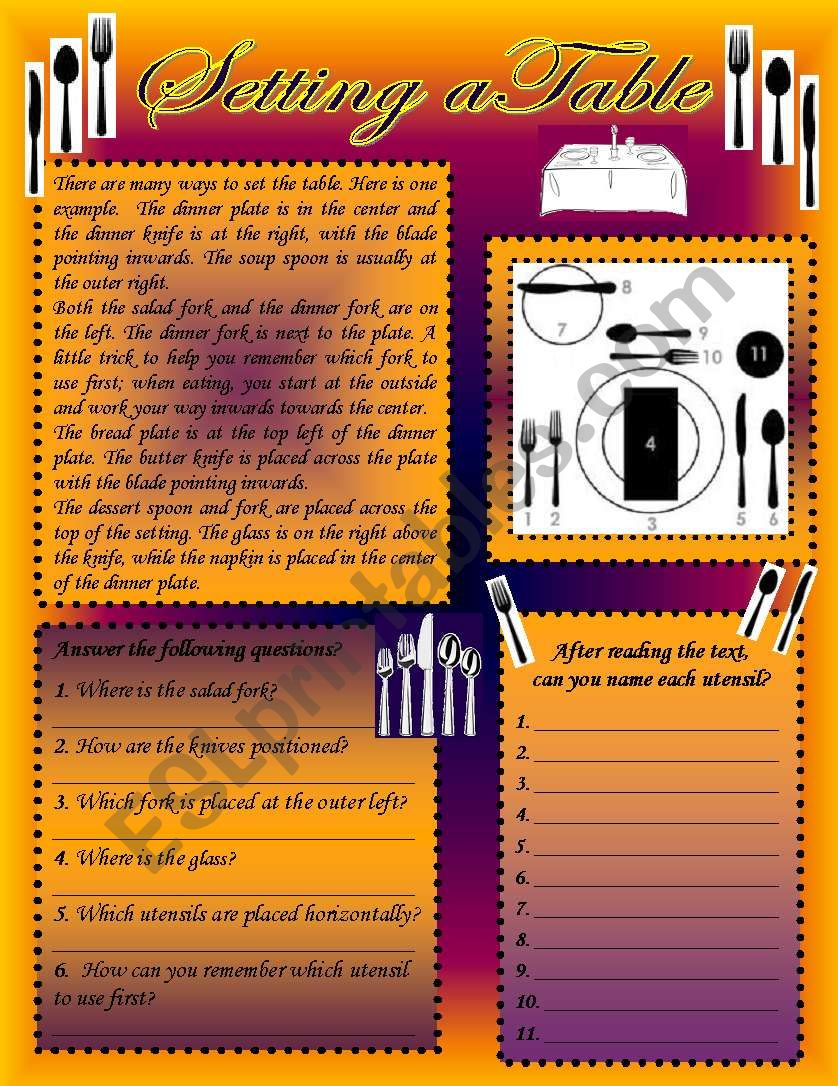 Setting a table worksheet