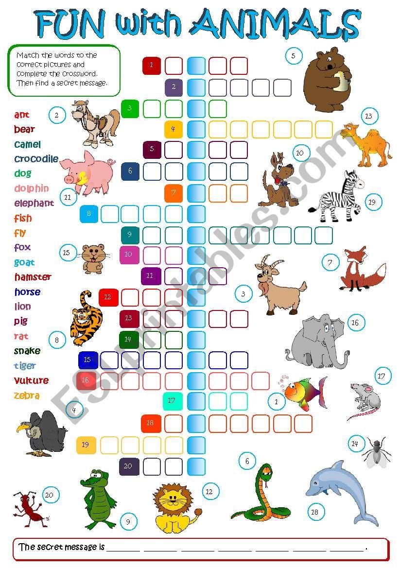 Fun with animals (B&W + KEY included)