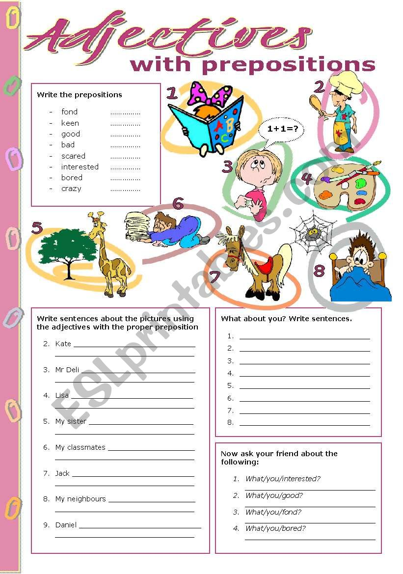 Adjectives with prepositions worksheet