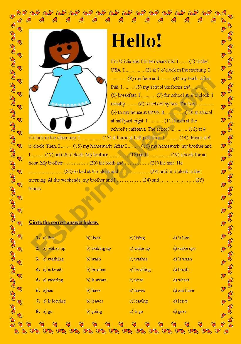 Present Simple Tense - Cloze Test - Olivia´s Daily Routines + KEY
