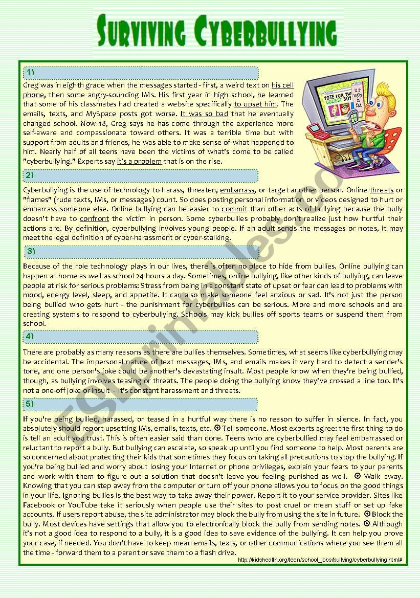 reading - ´Surviving Cyberbullying  (a true story & tips) + Comprehension + Essay + KEY