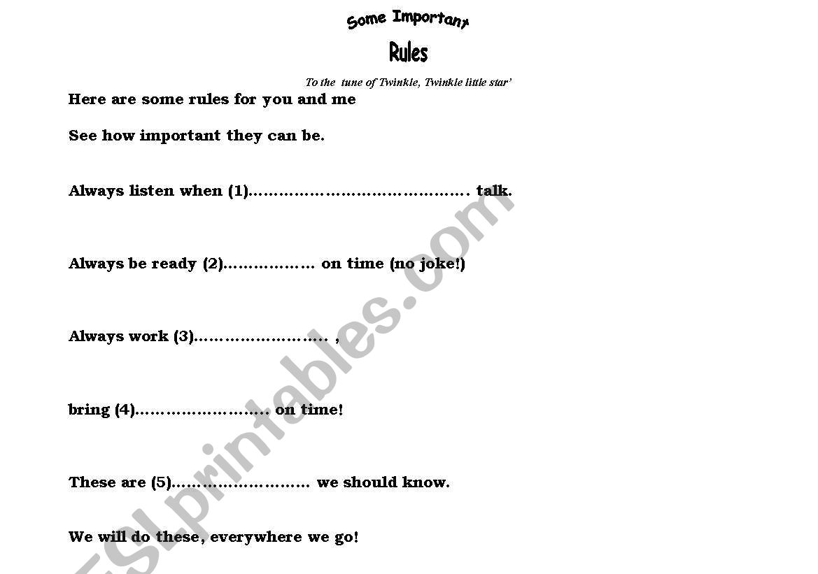 classroom rules a poem esl worksheet by miriam21. Black Bedroom Furniture Sets. Home Design Ideas