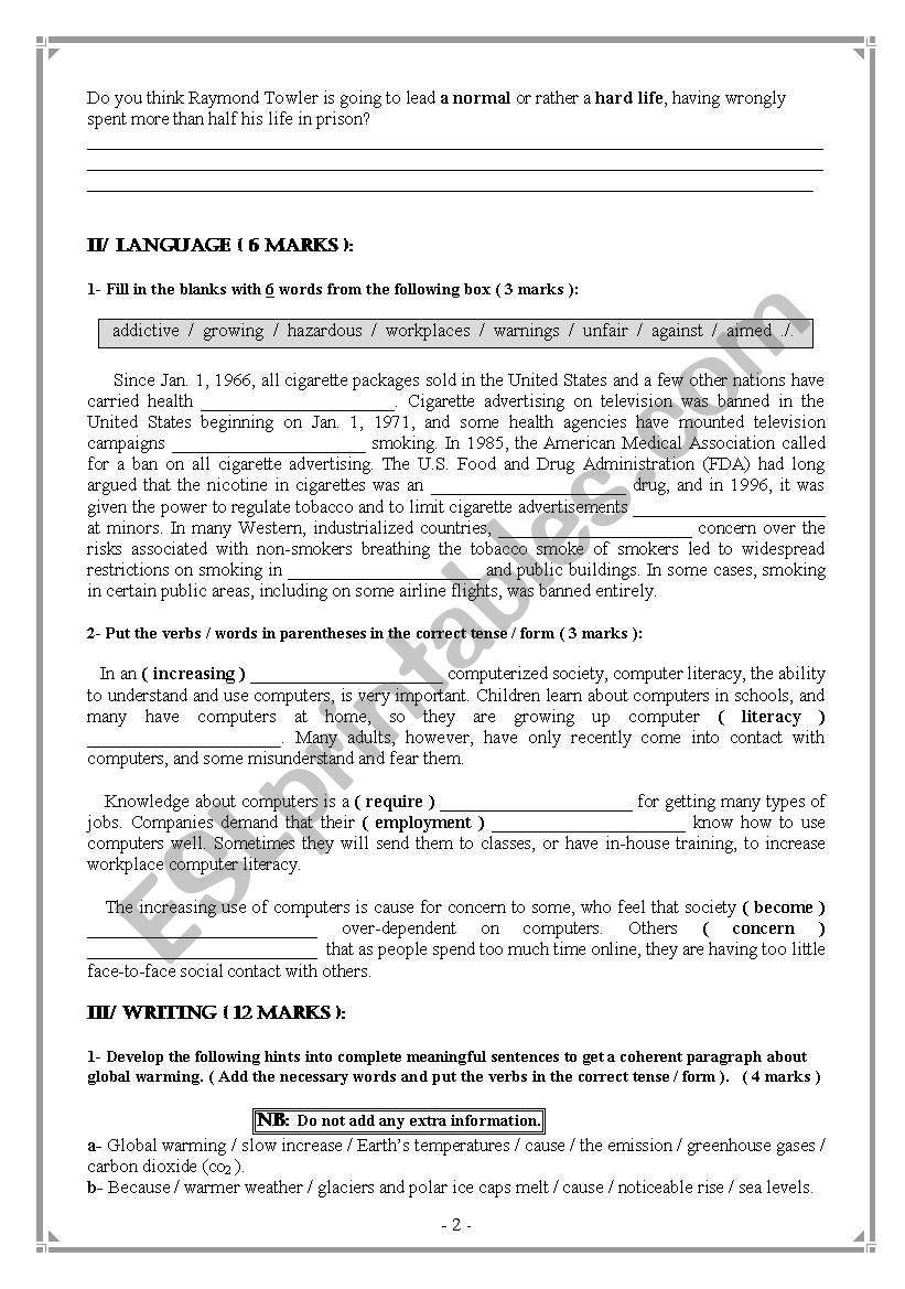 Bac Mock Exam 4th form ( Maths ), Tunisia  - ESL worksheet by chahdouda