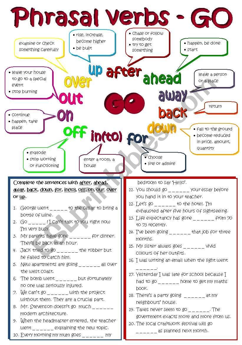 Phrasal verbs - GO (B&W + KEY included)