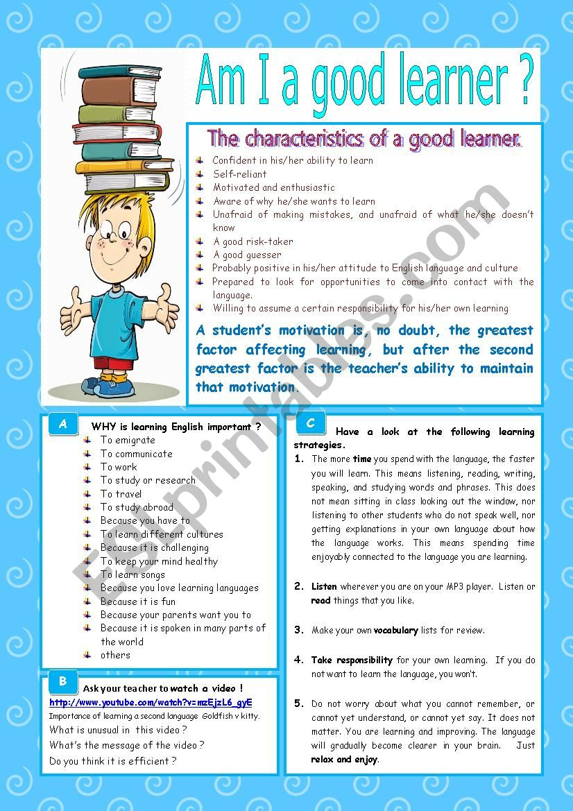 Am I a good learner ? - ESL worksheet by karagozian
