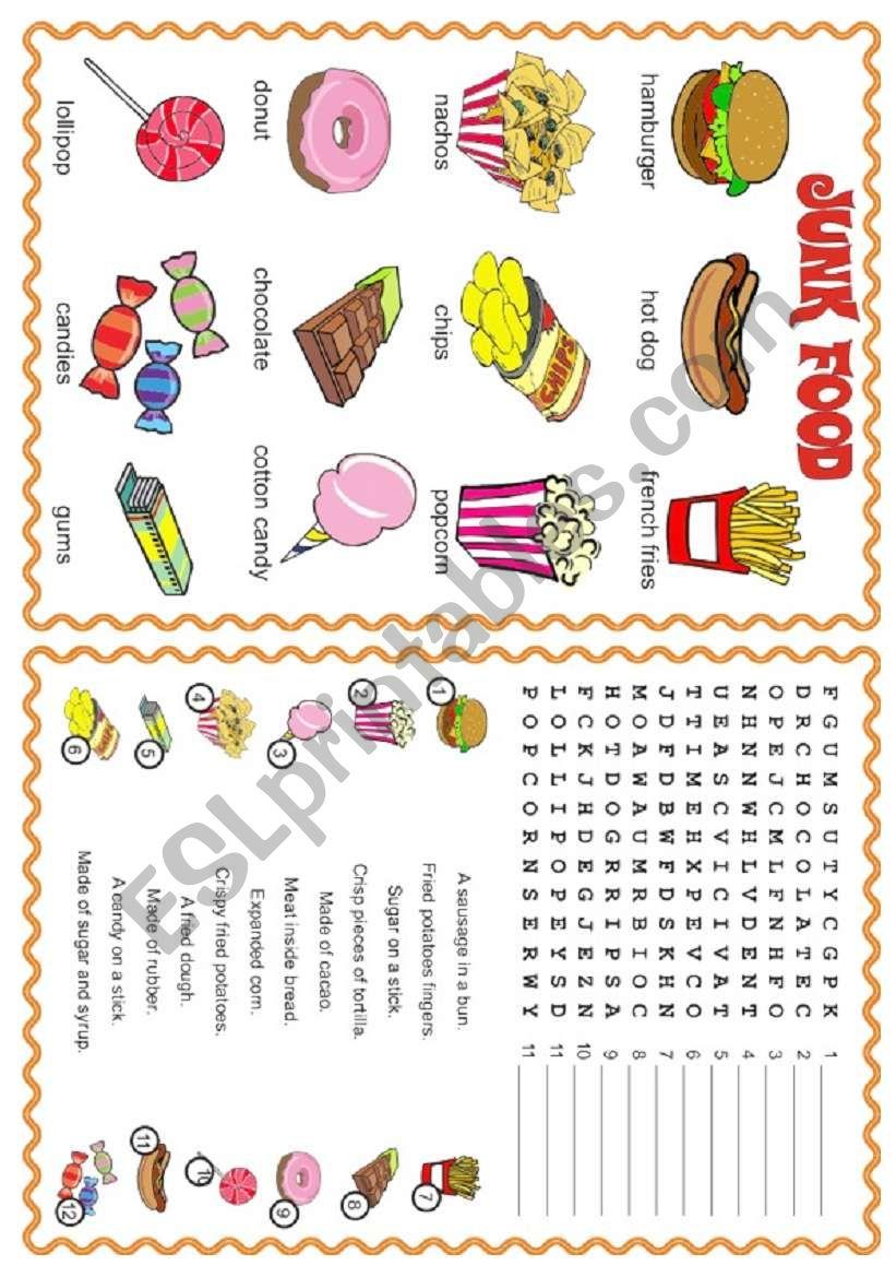 Junk Food Esl Worksheet By Laurabar