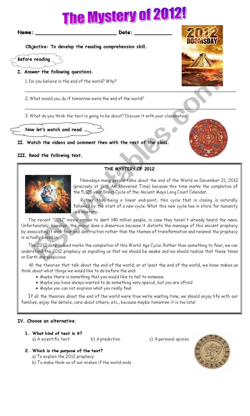 The mystery of 2012 worksheet