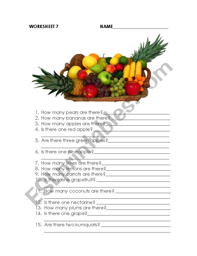 How many fruits are there? worksheet