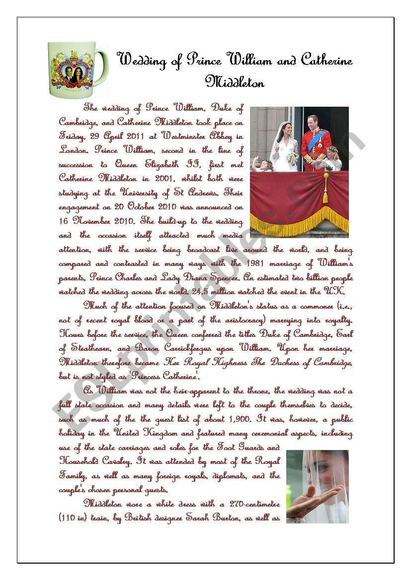 the royal wedding esl worksheet by claudia22