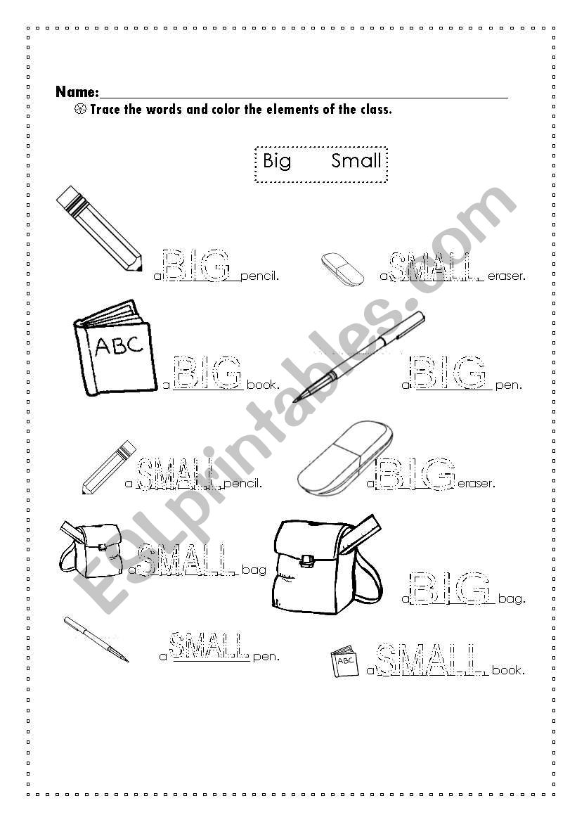 Sizes (Small and Big) worksheet