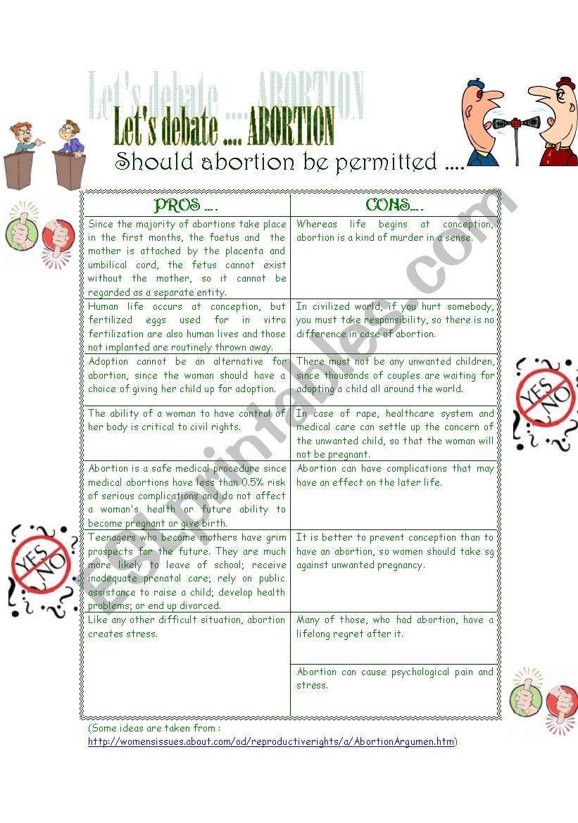 Let´s debate ... Abortion worksheet