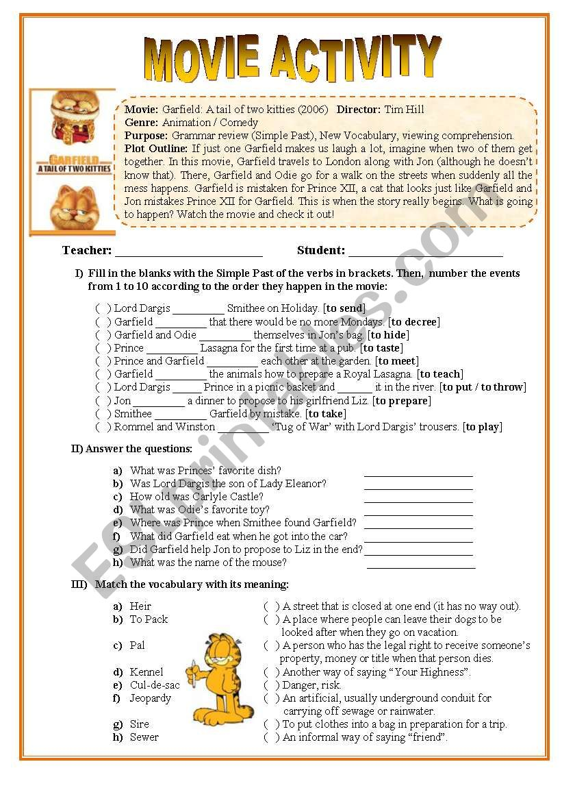 Movie Activity - Garfield II worksheet