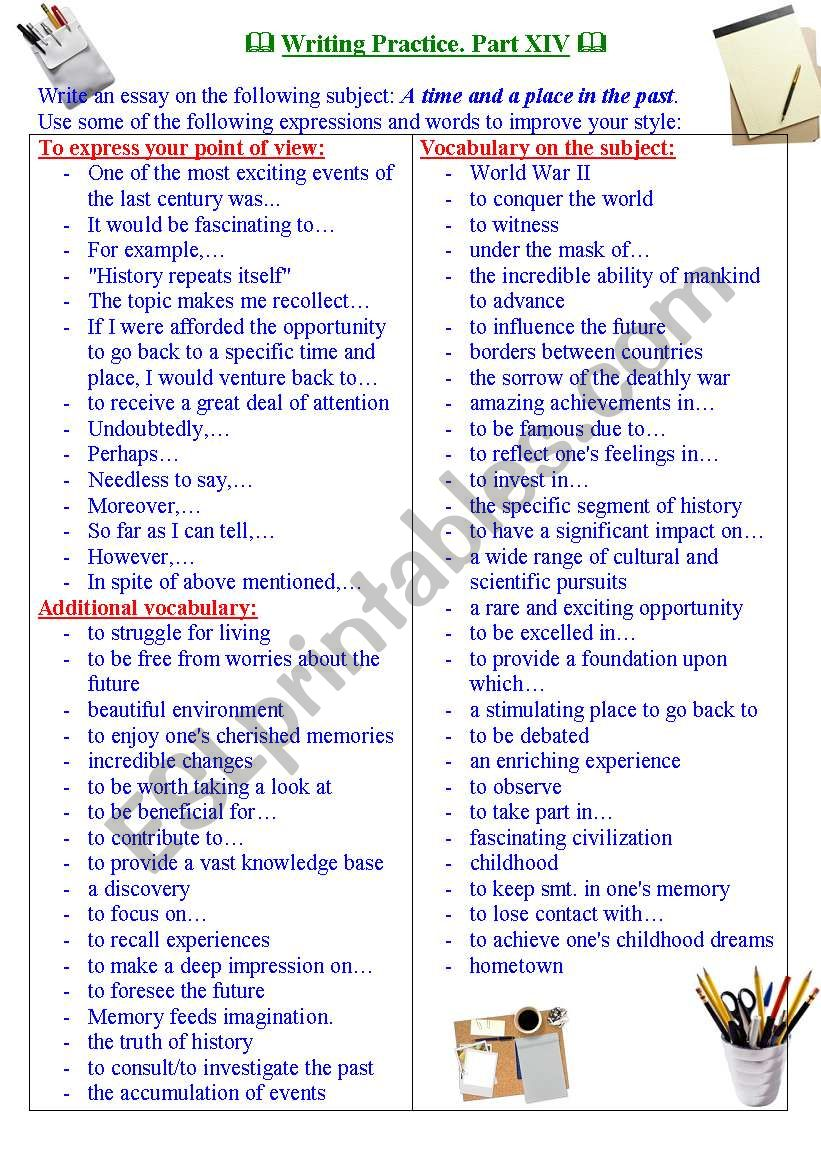 Writing practice for TOEFL/IELTS exams. Useful expressions and vocabulary. Part XIV.