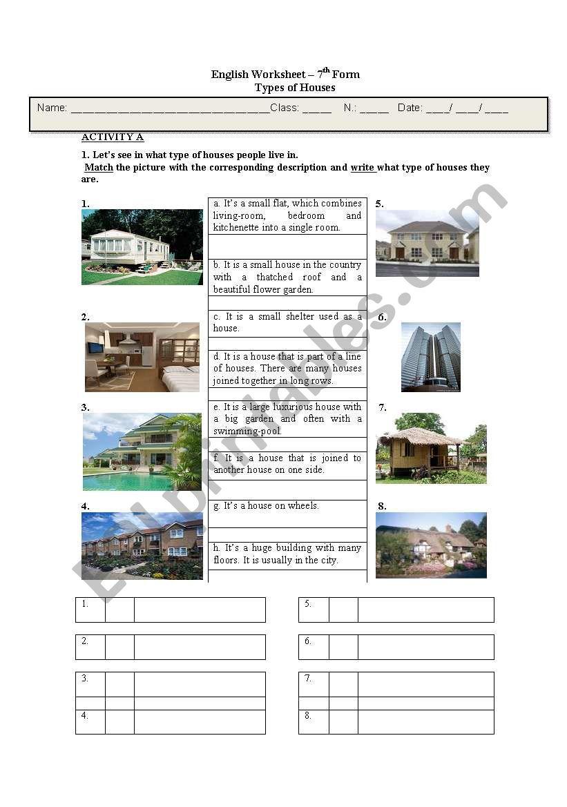 Types Of Houses Esl Worksheet By Ccmaria