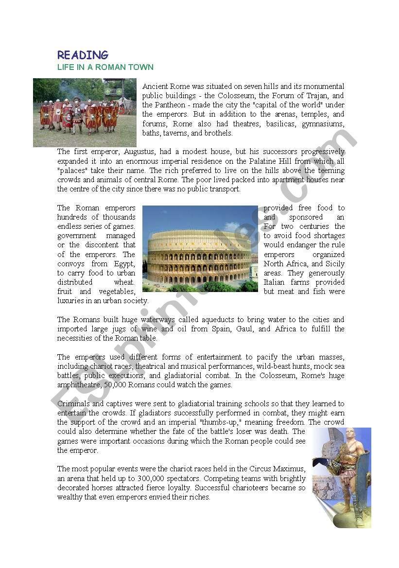 LIFE IN ROMA - ESL worksheet by taetae