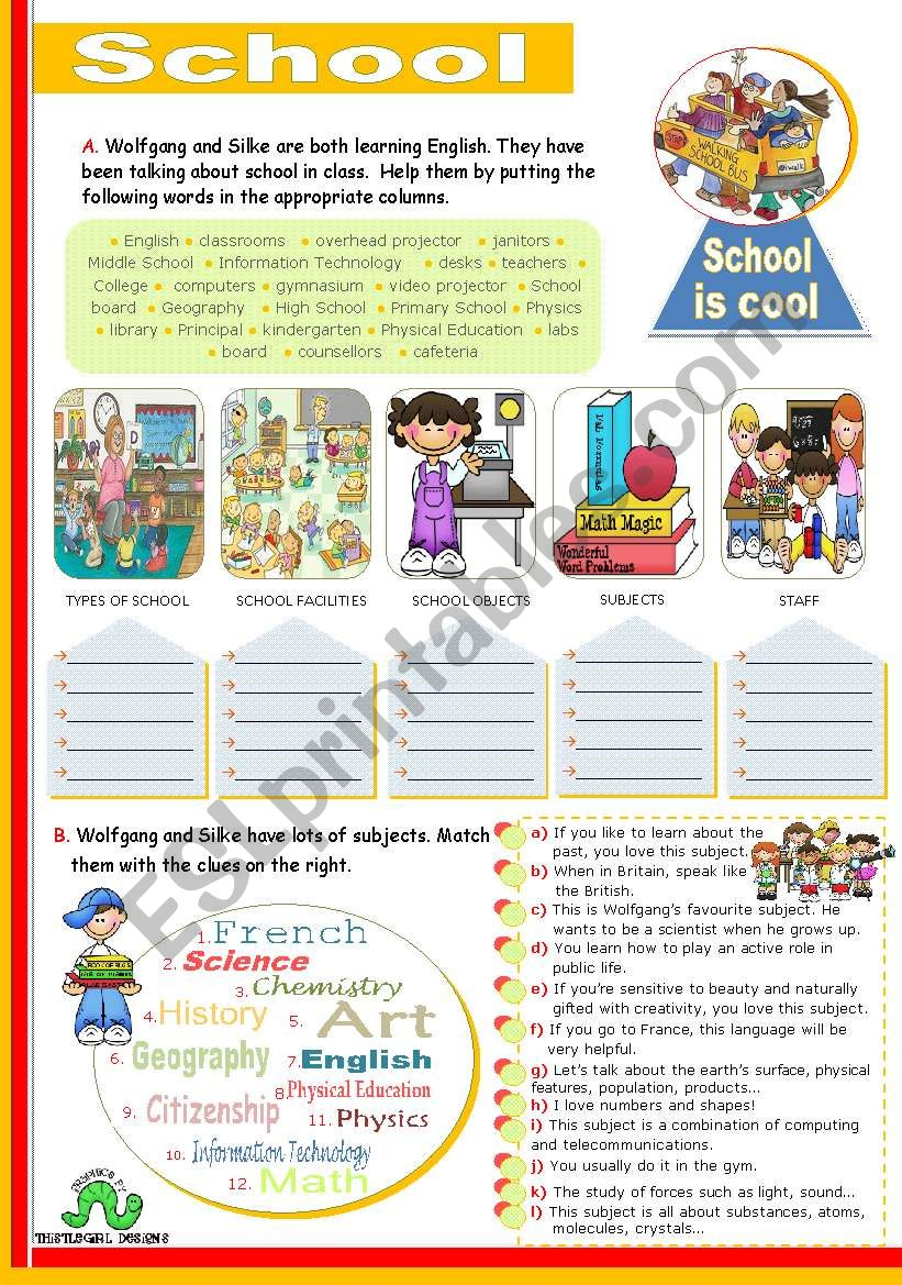 School  -  Vocabulary Input worksheet