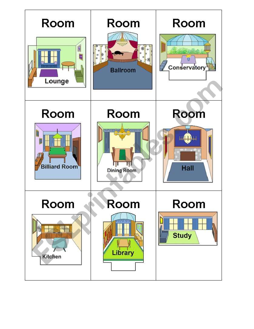 photograph regarding Clue Cards Printable known as Clue Board Activity Playing cards - Rooms - ESL worksheet by way of melnoad