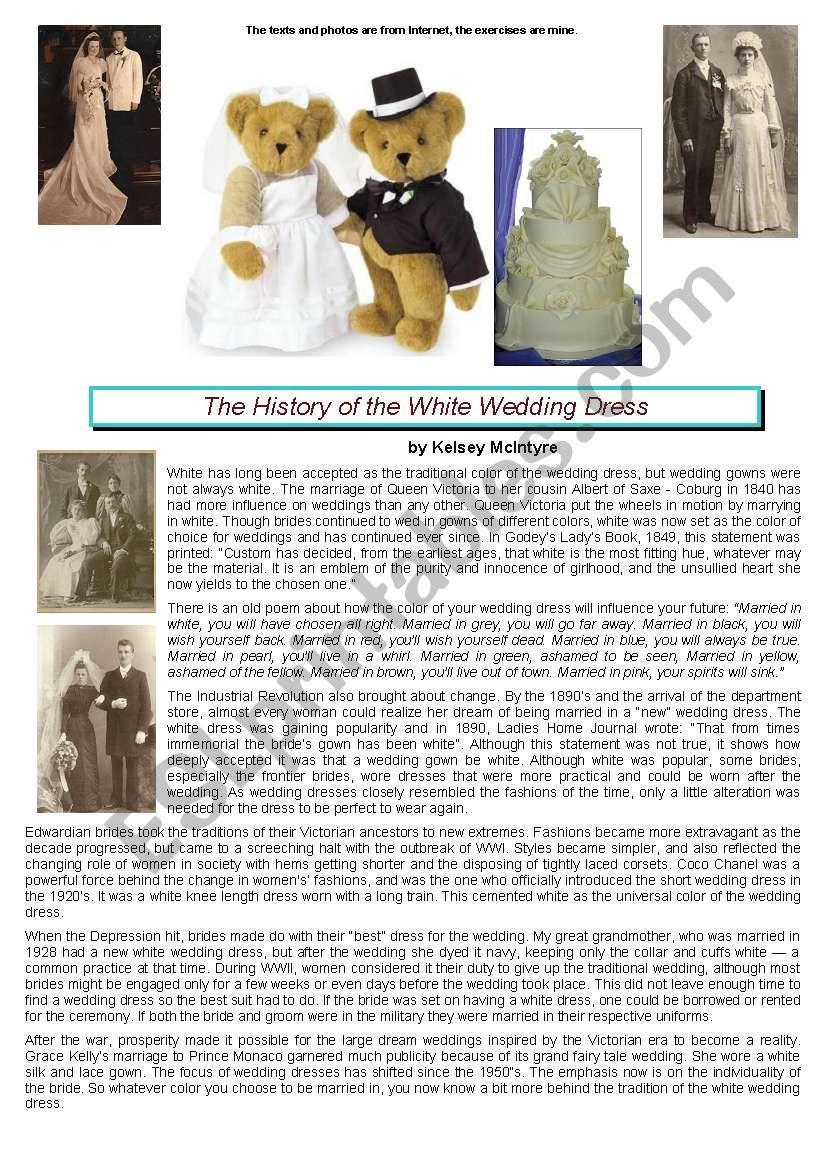 white wedding dress history worksheet