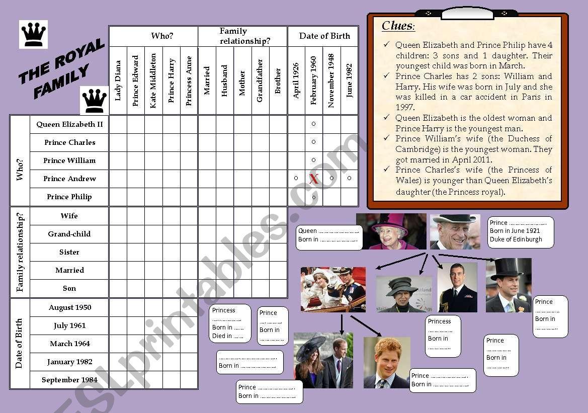 LOGIC GAME : THE ROYAL FAMILY  **Editable+Key Answers**