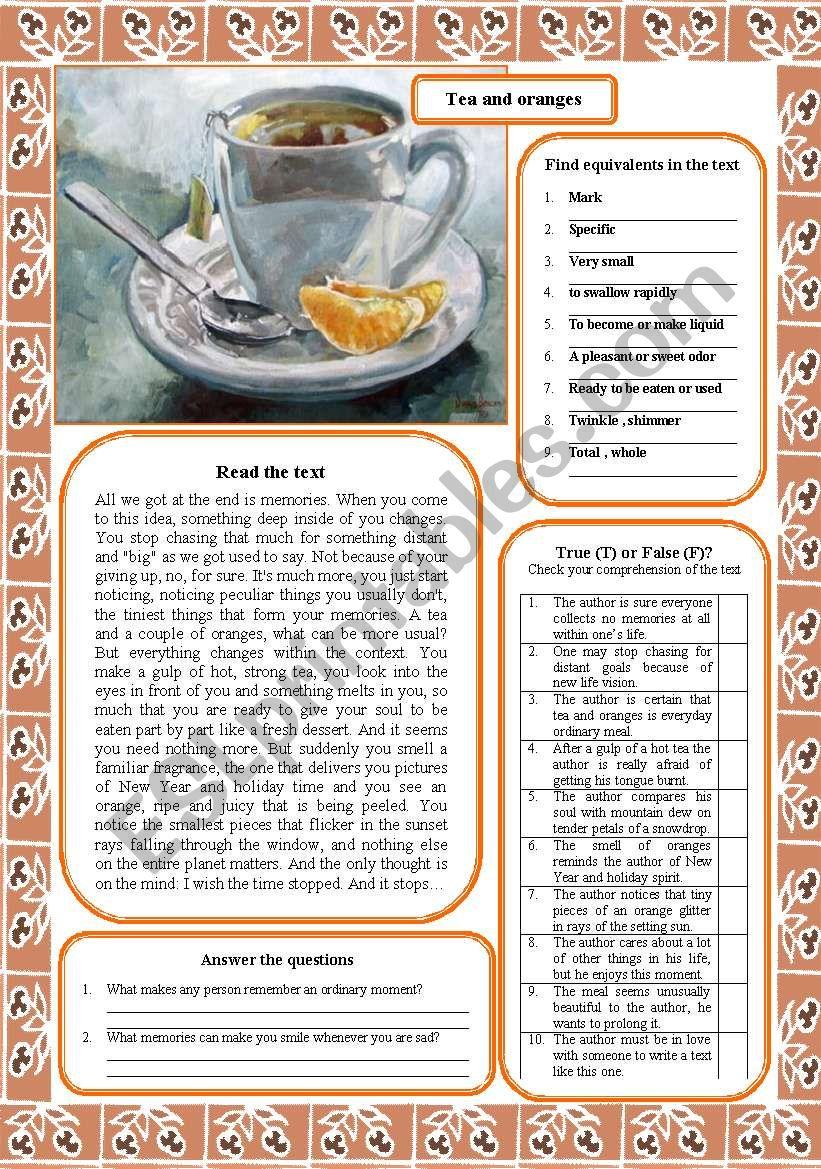 Tea and oranges worksheet