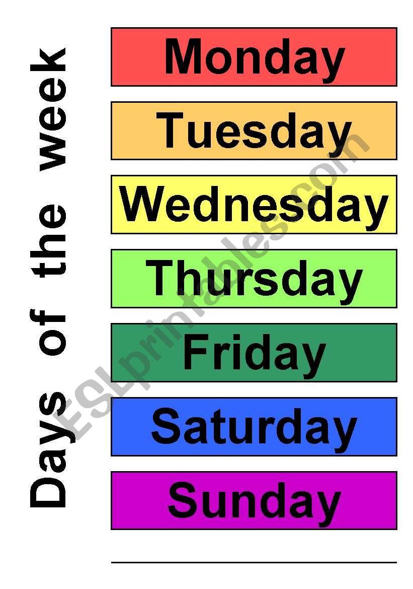 Days of the week esl