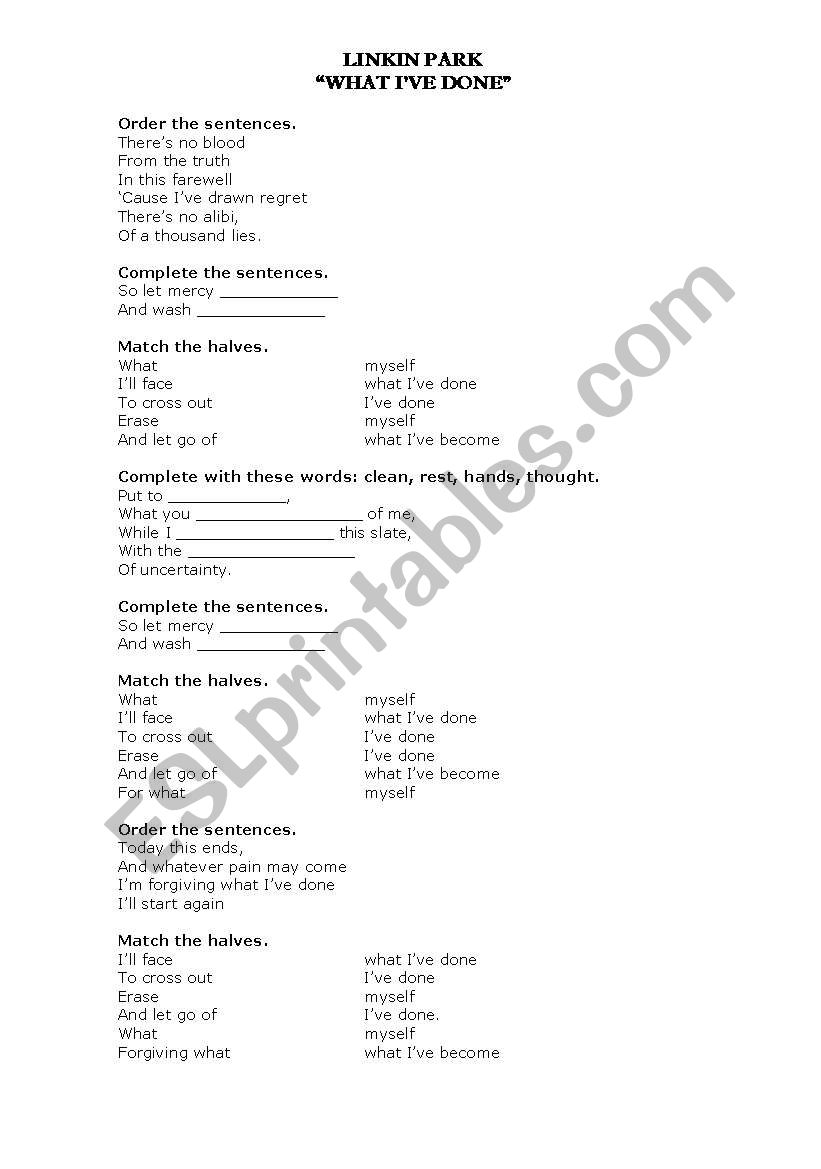 Song What I Ve Done By Linkin Park Esl Worksheet By Cris Bv