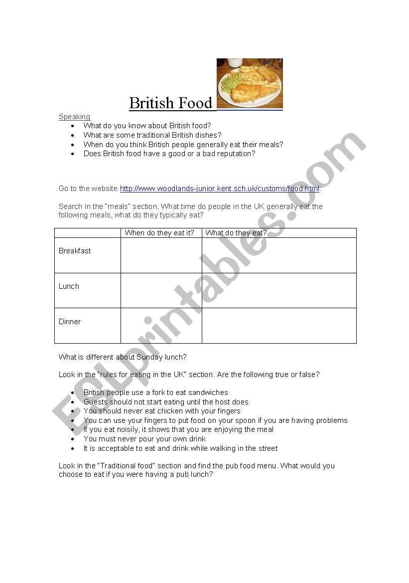 British Food webquest worksheet