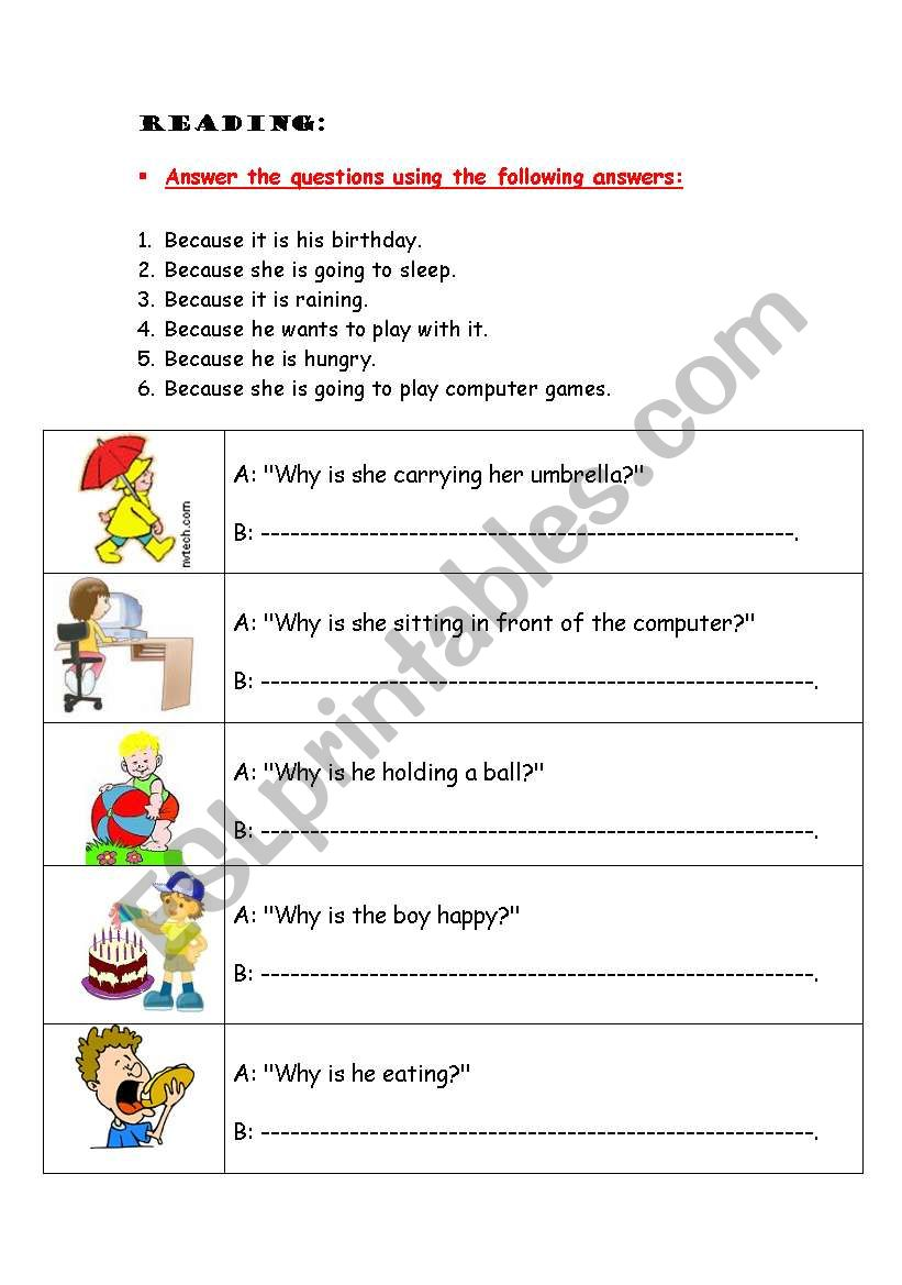 Why Questions Esl Worksheet By Btv111